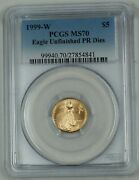 1999-w 5 Gold Eagle Unfinished Proof Dies Pcgs Ms70 Low Mintage Error Coin