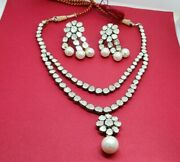 Victorian Rose Cut Polki Diamond Necklaces Earring Set 925 Sterling Silver