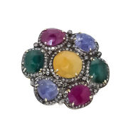 Ring Natural Pave Diamond Multi Gemstone 925 Sterling Silver Fine Jewelry
