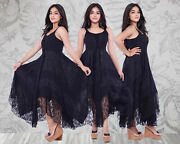 Gypsy Wiccan Maxi Dress Adjustable Lacing Ties Flattering Design All Sizes B4440