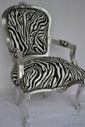 Louis Xv Arm Chair French Style Chair Vintage Furniture Zebra And Silver