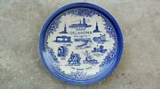 Vintage Blue Flow Transfer Oklahoma State Souvenir Collector Plate Will Rogers