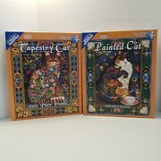 Tapestry Cat And Painted Cat By Lewis T. Johnson 1000 Pc Jigsaw Puzzleswhite Mt.
