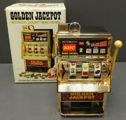 Vintage Waco Golden Jackpot Automatic Mini Slot Machine Coin Bank Made In Japan