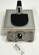 Nwt Lois Hill Smoky Faceted Topaz Sterling 91g Mesh Bracelet Scroll Ring Set S 7