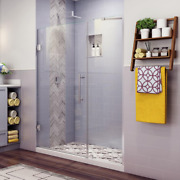 Shower Door 58.25 In. To 59.25 In. X 72 In. Frameless Hinged In Stainless Steel