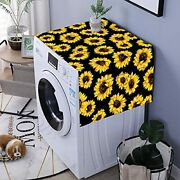 Yellow Blooming Sunflowers Black Washer And Dryer Top Covers, Fridge Dust Proof