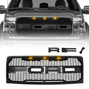 For 2009-2014 Ford F150 Raptor Style Grill W/3 Amber Lights Letters Matte Black