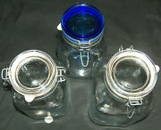 3 Large Bormioli Rocco Fido Hinged 2 3 Glass Canisters Cobalt Blue Clear Lids