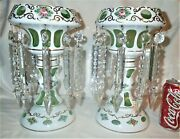 2 Antique C. 1880and039s Victorian Bohemian Crystal Prisms Green Mantle Lamp Lusters