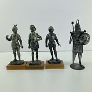 Vintage Lot Of 4 3x Depose Italy Medieval Knight Figures 6 1x Tin Soldier