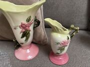 Vintage Set Of Hull Pottery Woodland Vases - 11in And 8in Vases Beautiful