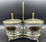 Vintage Mcm Coffee And Tea Glass Jar Canisters With Brass Lids And Caddy