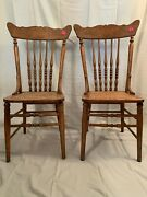 12 Dining Chairs Antique Oak, With Caned Seating, Assorted Styles, Some Match