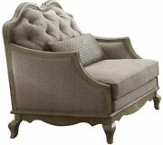 Acme Chelmsford Chair With 1 Pillow In Beige And Antique Taupe Finish 56052