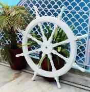 36 Antique White Washed Ship Wheel - Vintage Nautical Ship Boat Steering Wooden