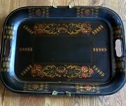 Antique Tin Toleware Tray Early American Rose Stencil By Anne Q Decatur Troy Ny