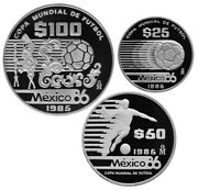 Mexico 175 Pesos 3-coin Silver 54.43g Proof Set 1985 World Cup Soccer - Ii Type