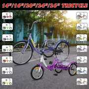 14/16/20/24/26-inch Kidsandadults Tricycle Three-wheeled Bicycles With Rear Basket