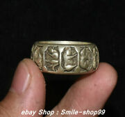Unique China Old Silver Carving 12 Zodiac Jewellery Finger Ring