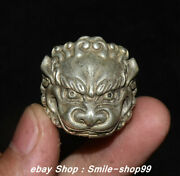 China Rare Old Silver Carving Feng Shui Dragon Beast Jewellery Finger Ring