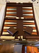 2 Vintage Backgammon Sets Brown And Tan Felt, Faux Brown Leather Perfect Condition