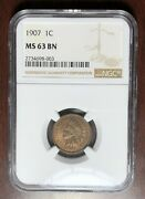 1907 Ngc Ms-63 Indian Head Cent Penny W6835
