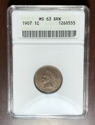1907 Anacs Ms-63 Brown Indian Head Cent Penny W6895