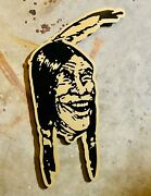 Rare Indian Motorcycle Dealer Sign Hendee Vintage Style Indian Mascot Chieftain