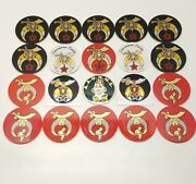 20 Shriners Car Badges And Stickers Lot Clowns Crescent Moon Scimitar Sphinx Star
