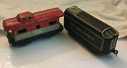 Vintage Marx Nyc New York Central Metal Black And Nyc 20102 Red Caboose