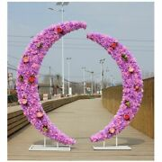 Crescent Moon Arch Wedding Party Road Backdrop Stand Metal Iron Fake Flowers New