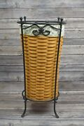 2000 Longaberger Umbrella Basket W/ Wrought Iron Stand Liner Protector Signed