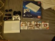 Sony Playstation 3 Super Slim Ps3 In Classic / Crystal White With 500gb