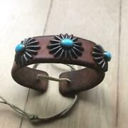 Gorose Concho Bag Belt Coin Purse Leather Breath Turquoise Gold Metal