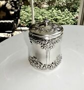 Antique J.e.caldwell Sterling Silver Repousse Canister,powder Jar,tobacco Can,6