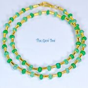 Finest Colombian Emerald Fluted Melon Bead 18k Solid Yellow Gold Necklace 17inch