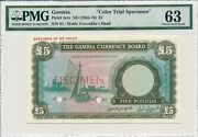 Gambia Currency Board Gambia 5 Pounds Nd1965-70 Color Trial Specimen Pmg 63