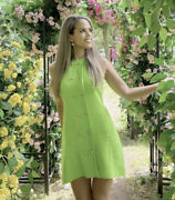 Zara Nwt Ss21 Textured Weave Dress With Buttons Neon Green Ref 2969/811