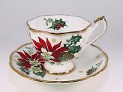 Vintage Queen Anne Noel Bone China Tea Cup And Saucer