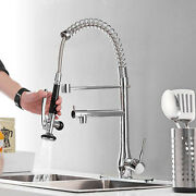 Kitchen Faucet With Sprayer Commercial Single Handle Pull Down Tap Deck Plate