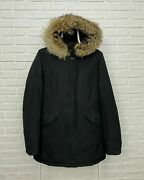 Womenand039s Woolrich Ramar Cloth Down Parka Black Hooded Jacket Size S Fur