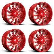 Set 4 20 Fuel D745 Saber 20x9 Candy Red Milled 8x6.5 Wheels 1mm Truck Rims