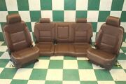 14-18 Gm Truck High Country Crew Brown Heat Cool Leather Power Buckets Backseat
