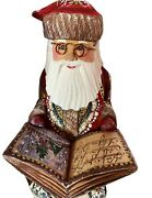 Russian Santa Claus Wooden Painted Sitting On The Rocking Chair Reading Book Wow