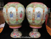 14old Marked Enamel Porcelain 8 Eight Immortal Oil Lamp Candlesticl Pair