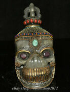 10 Tibet Buddhism Silver Crystal Inlay Turquoise Skull Skeleton Head Statue
