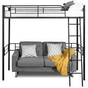 Metal Loft Twin Bed Frame Single Twin Size Loft Bed W/ Ladder And Guard Rail Home