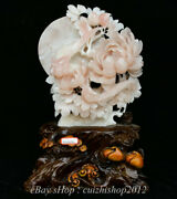18 China Natural Xiu Pink Jade Carving Subshrubby Peony Flower Birds Statue