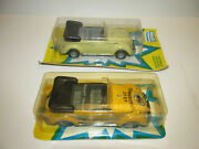2 Old Huki Tin Cars With Friction Vw Beetle 208 + Adac Strassenwacht 212 Boxed